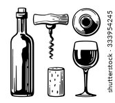 bottle  glass  corkscrew  cork. ... | Shutterstock .eps vector #333954245