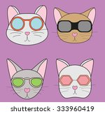 cats in glasses on a purple... | Shutterstock . vector #333960419
