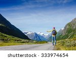 hitchhiking tourism concept... | Shutterstock . vector #333974654