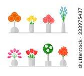 vase of flowers isolated set on ...   Shutterstock .eps vector #333975437