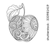monochrome contour apple. hand
