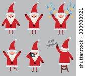 icon set of cute santa claus.... | Shutterstock .eps vector #333983921