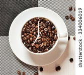 coffee cup time clock   wake up ... | Shutterstock . vector #334006019