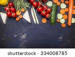 border  various fruits and... | Shutterstock . vector #334008785