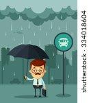 cute cartoon businessman with... | Shutterstock .eps vector #334018604