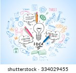 idea concept with light bulb... | Shutterstock .eps vector #334029455