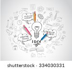 idea concept with light bulb... | Shutterstock .eps vector #334030331