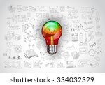 idea concept with light bulb... | Shutterstock .eps vector #334032329