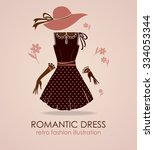 romantic dress. fashion card in ... | Shutterstock .eps vector #334053344