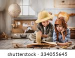 two boys in the pilot study and ... | Shutterstock . vector #334055645