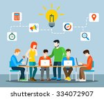 flat style idea brainstorming... | Shutterstock .eps vector #334072907
