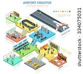 flat 3d isometric airport... | Shutterstock .eps vector #334075031