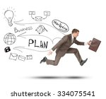 businessman running fast with... | Shutterstock . vector #334075541
