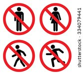 no entry sign set . no man   no ... | Shutterstock .eps vector #334079441
