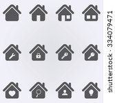 house icon set . vector... | Shutterstock .eps vector #334079471