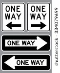 One Way Sign Set . Vector...