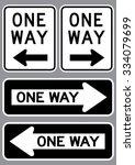One Way Sign Set . Vector...