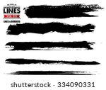 set of grunge and ink stroke... | Shutterstock .eps vector #334090331