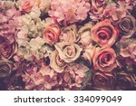 pink roses background. retro... | Shutterstock . vector #334099049