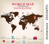 world map infographic vector. | Shutterstock .eps vector #334106951