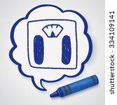 weighting machine doodle drawing | Shutterstock .eps vector #334109141