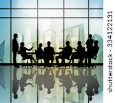 silhouttes of business people...   Shutterstock . vector #334122131