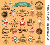 christmas decoration collection ... | Shutterstock .eps vector #334137089