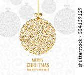 luxury christmas and new year... | Shutterstock .eps vector #334139129