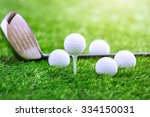 golf club and ball on green... | Shutterstock . vector #334150031