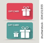 Design gift card with a box in a flat style. Vector illustration. Set | Shutterstock vector #334151555