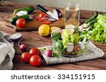 fresh salad with cherry... | Shutterstock . vector #334151915