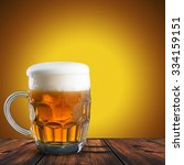 close up of beer on wood table. ... | Shutterstock . vector #334159151