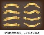 ribbon banner set.golden... | Shutterstock .eps vector #334159565
