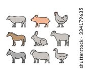 painted outline figures of farm ... | Shutterstock . vector #334179635