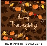 thanksgiving greeting card.... | Shutterstock .eps vector #334182191