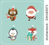 set of cute christmas character ... | Shutterstock .eps vector #334185071
