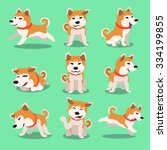cartoon character akita inu dog ... | Shutterstock .eps vector #334199855