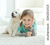 portrait of happy little girl... | Shutterstock . vector #334201415
