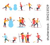 people involved in winter... | Shutterstock .eps vector #334213529