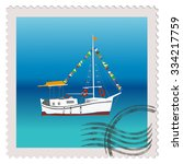 postage stamp with sailing ship ...   Shutterstock . vector #334217759