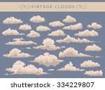 Set Of Vintage White Clouds On...