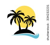 palm trees silhouette on island.... | Shutterstock .eps vector #334232231
