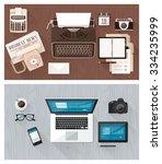 work desktop and devices... | Shutterstock .eps vector #334235999
