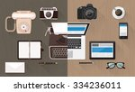 work desktop and devices... | Shutterstock .eps vector #334236011