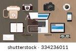 work desktop and devices... | Shutterstock .eps vector #334236011