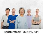 mullti ethnic senior group of... | Shutterstock . vector #334242734