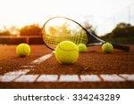 tennis balls and racket | Shutterstock . vector #334243289