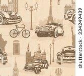 seamless vintage travel... | Shutterstock .eps vector #334249439