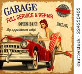 vintage garage retro poster | Shutterstock .eps vector #334250405