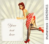 sexy pin up girl with vintage... | Shutterstock .eps vector #334250411